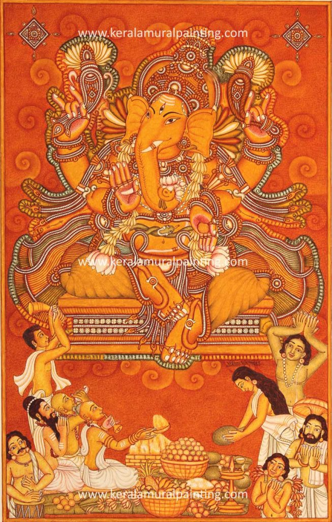 Ganapathi series kerala mural painting for Mural art of ganesha