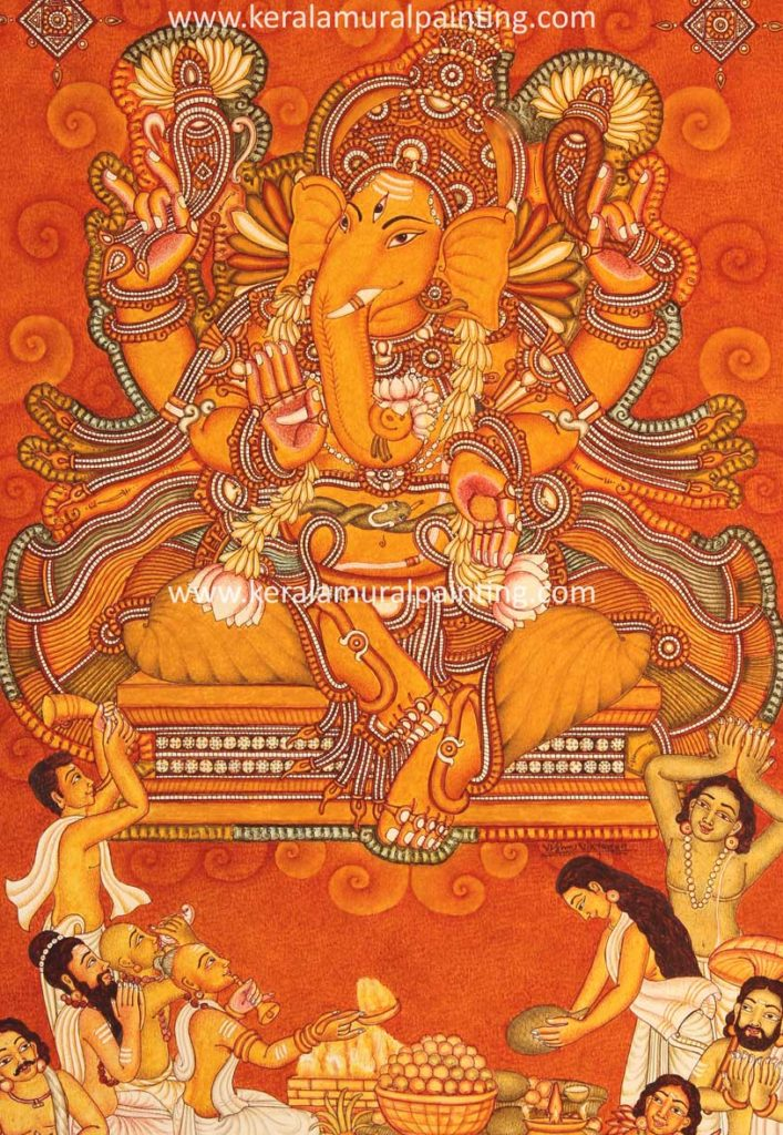 Kerala mural paintings kerala mural painting for Mural art of ganesha