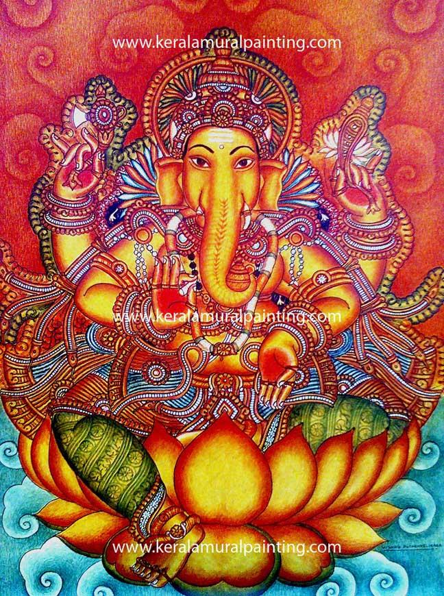 Ganapathi series kerala mural painting for Mural ganesha